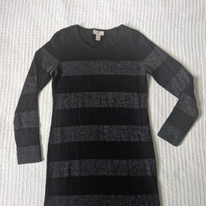 Loft Black and Silver Long-Sleeved Sweater Dress